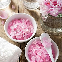 spa set with peony flowers and pink herbal salt, Spa Treatment, Domestic Bathroom, Herbal Medicine