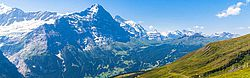 Panorama view of Eiger, Monch and other peaks of swiss alps near Grindelwald, Switzerland.