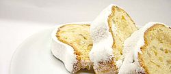 Cake, Stollen, Plate, Confectioner`s sugar, Bread, Winter, December, Delicious, Pensive, Crockery